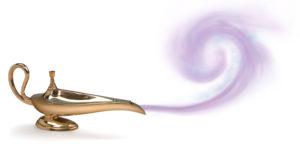 magic genie lamp with purple smoke